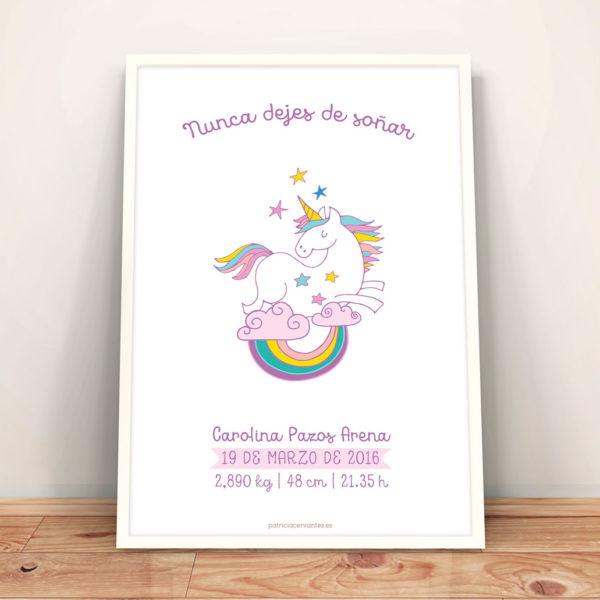 """Lamina de nacimiento """"Unicornio"""""""