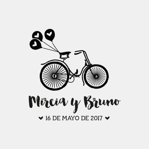 Sello boda bicicleta