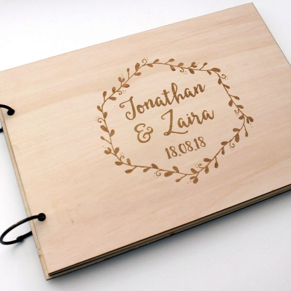 libro firmas para boda madera