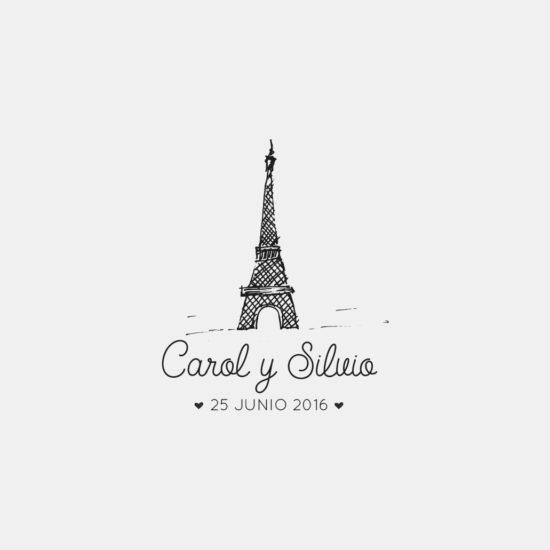 Sello para boda Torre Eiffel