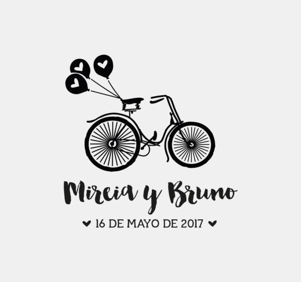 Sello boda bicicleta