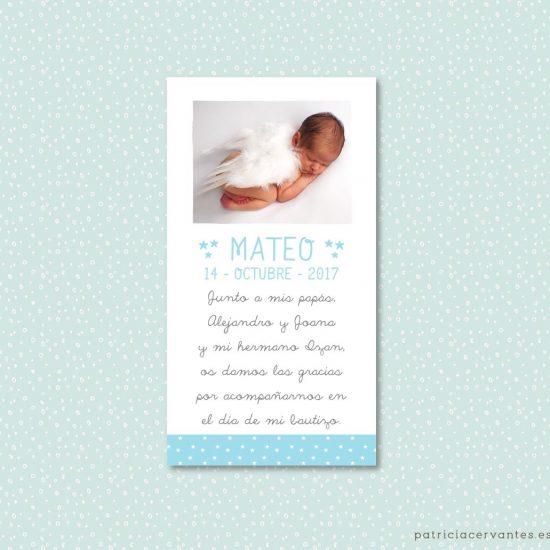 Tarjeta de bautizo con foto