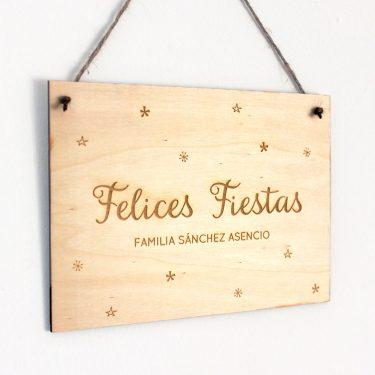 Cartel Felices Fiestas Madera