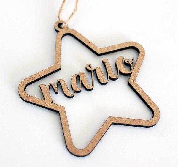 estrella personalizada madera navidad