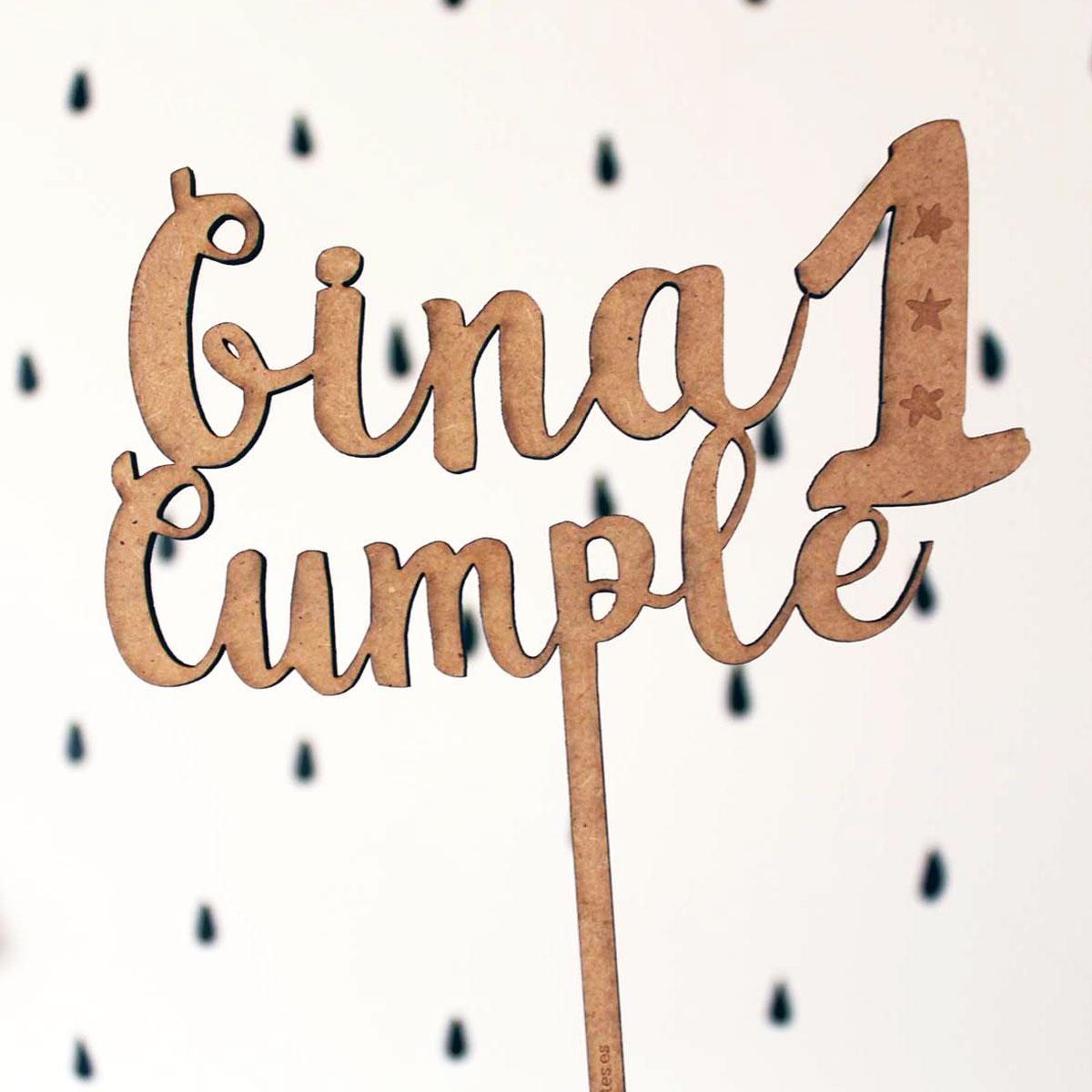 Cake topper personalizado de madera