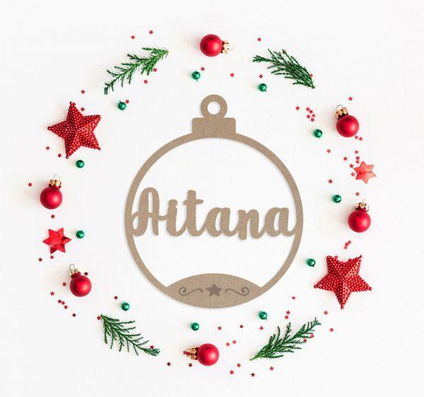 Decoracion Navidad Bola Deco Madera