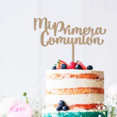 """Cake Topper de madera """"Mi Primera Comunión"""""""
