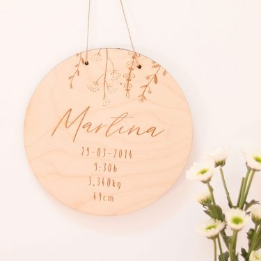 placa personalizada madera nacimiento