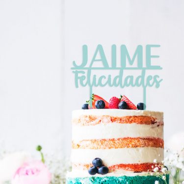 cake topper personalizado nombre + felicidades