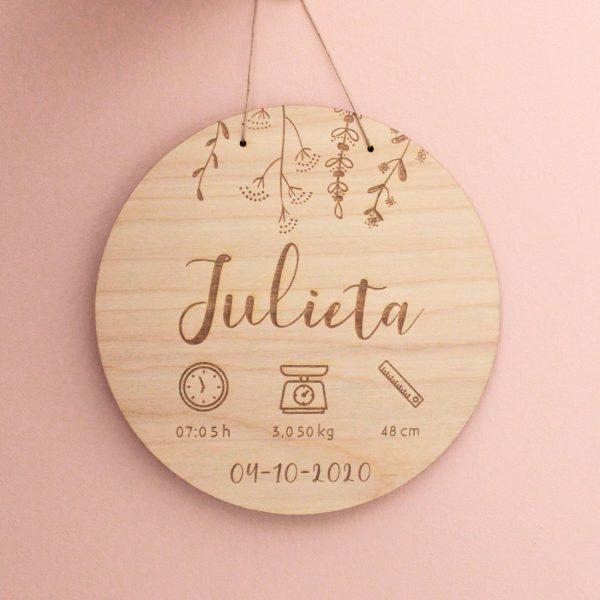 placa madera nacimiento